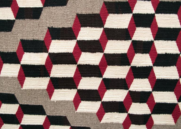 Vintage Navajo Optical Tumbling Block Rug Circa 1950 At