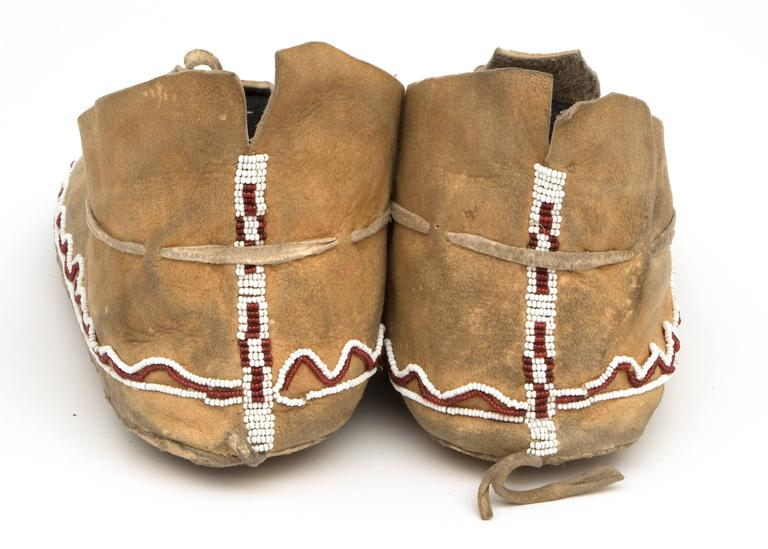 Antique Native American Beaded Moccasins, Kiowa, Plains, 19th Century 6