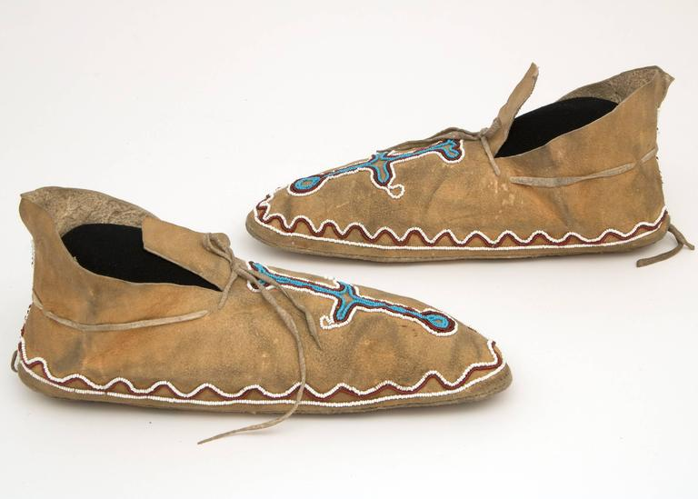 Antique Native American Beaded Moccasins, Kiowa, Plains, 19th Century 4