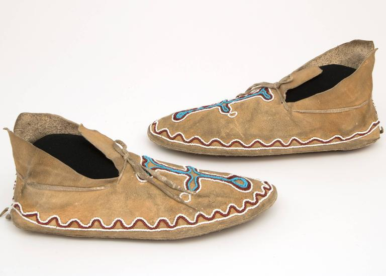 Antique Native American Beaded Moccasins, Kiowa, Plains, 19th Century 3