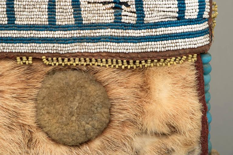 Antique Native American Beaded Pouch, Athapaskan, Mid-19th Century In Excellent Condition For Sale In Denver, CO