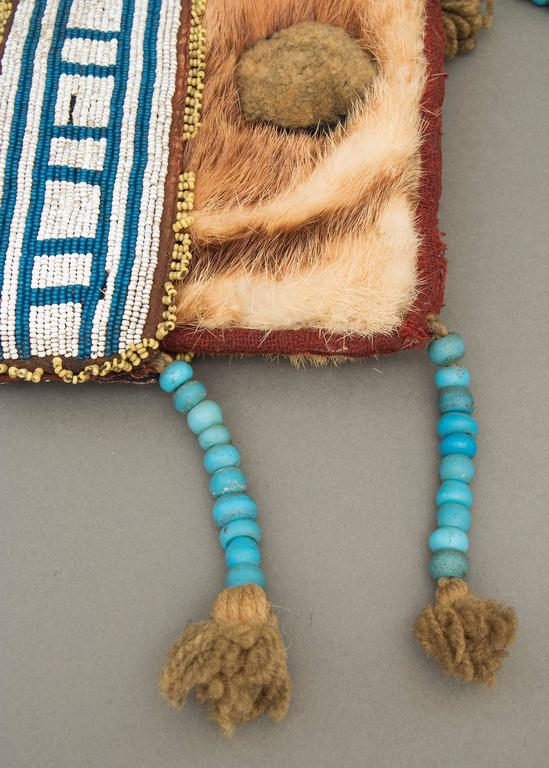 Hide Antique Native American Beaded Pouch, Athapaskan, Mid-19th Century For Sale