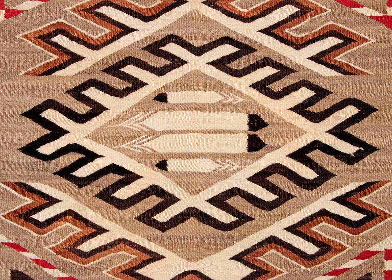 Vintage Navajo Pictorial Trading Post Rug Early 20th