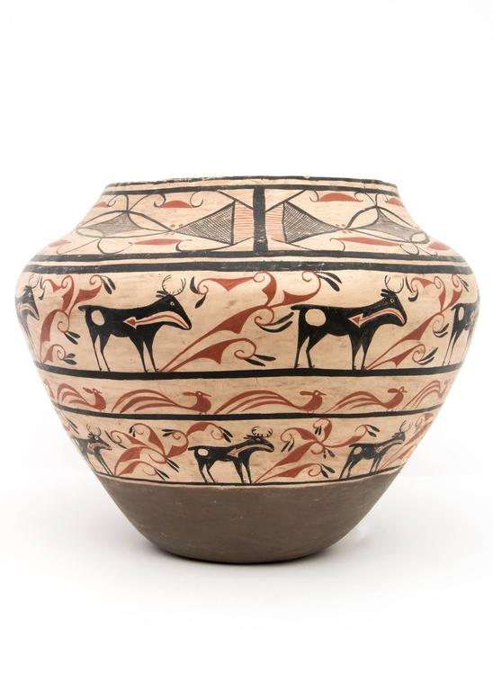 Native American Large Southwestern Pottery Four-Color Jar with Heartline Deer Motif For Sale