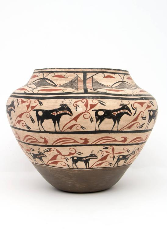 American Large Southwestern Pottery Four-Color Jar with Heartline Deer Motif For Sale