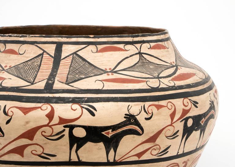 20th Century Large Southwestern Pottery Four-Color Jar with Heartline Deer Motif For Sale