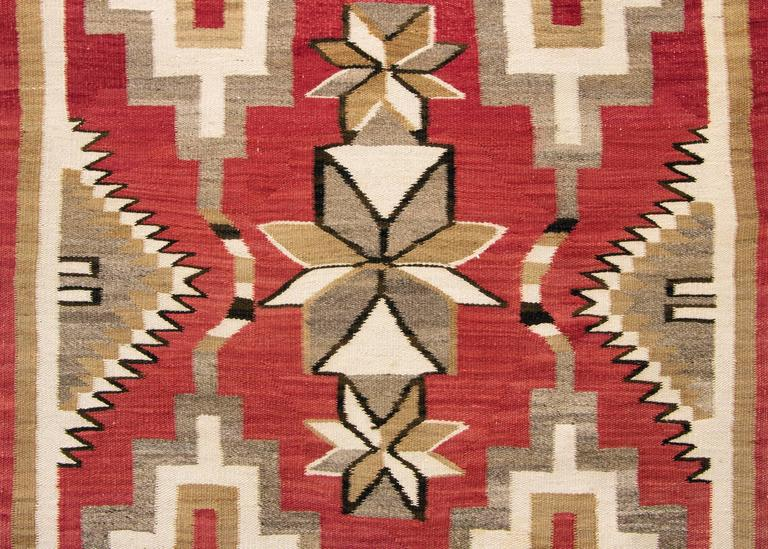 Vintage Pictorial Navajo Rug With Snake Pattern Circa