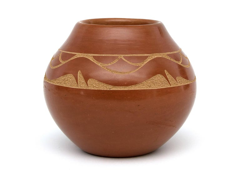 Native American Redware Pottery Jar with an Avanyu by Tony Da, San Ildefonso Pueblo For Sale
