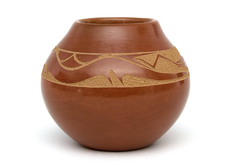 American Redware Pottery Jar with an Avanyu by Tony Da, San Ildefonso Pueblo For Sale