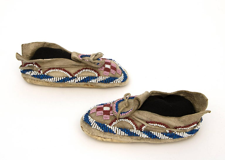 Native American Indian Child's Moccasins, Kiowa, 19th Century 5