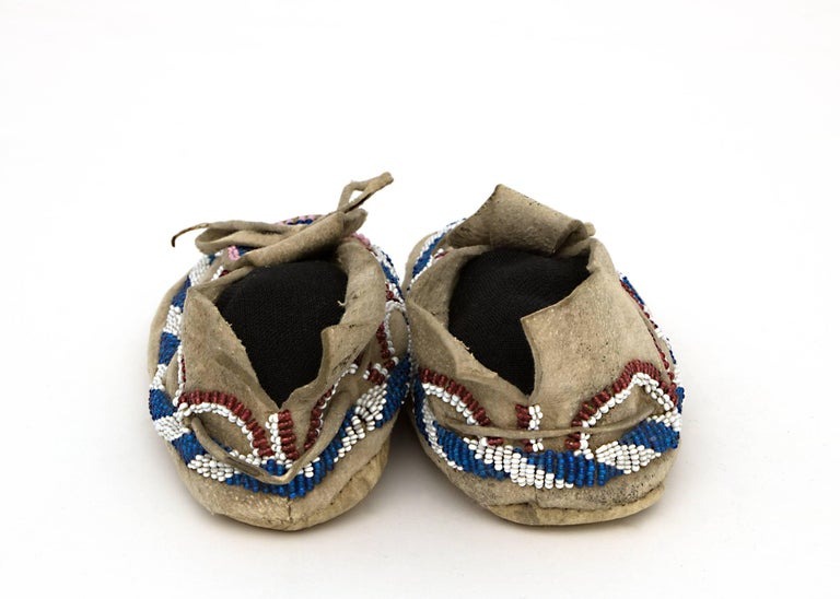 Native American Indian Child's Moccasins, Kiowa, 19th Century 7