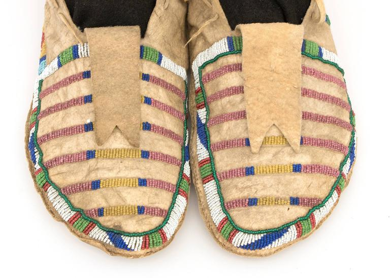Antique Native American Beaded Moccasins, Crow (Plains Indian), circa 1870 For Sale 2