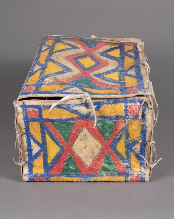 Hide Antique Native American Painted Parfleche Box, Sioux, circa 1880 For Sale