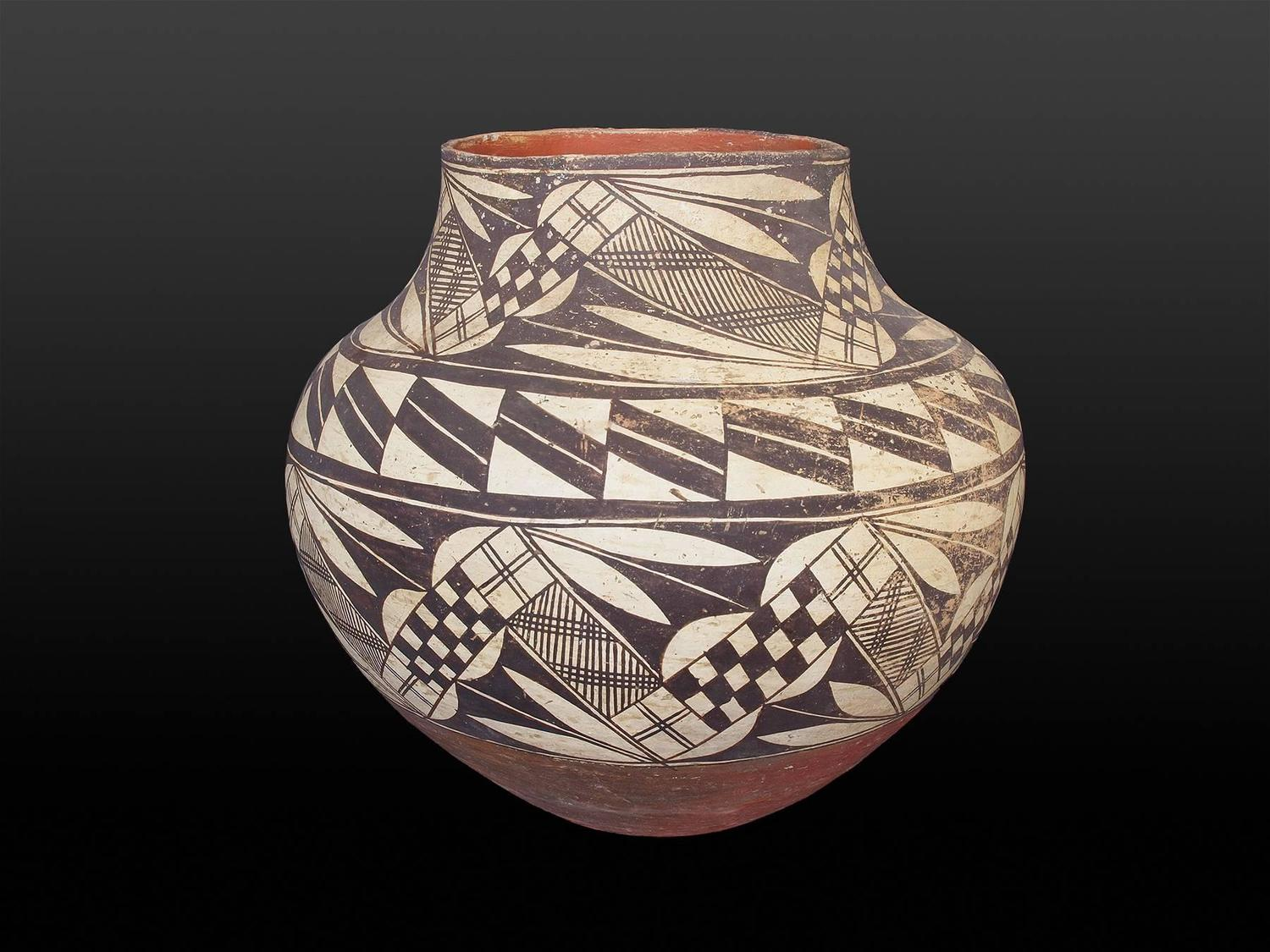 Antique Native American Pottery Olla Acoma 19th Century