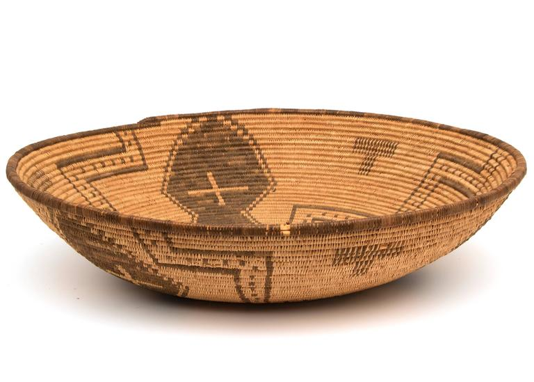 Willow Antique Native American Basketry Bowl, Apache, 19th Century For Sale