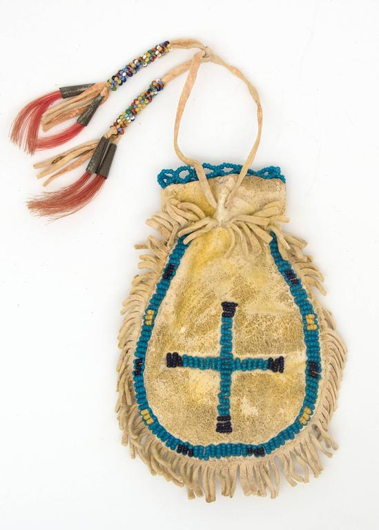 Native American 19th Century Plains Pouch with Pictographs in Beadwork For Sale