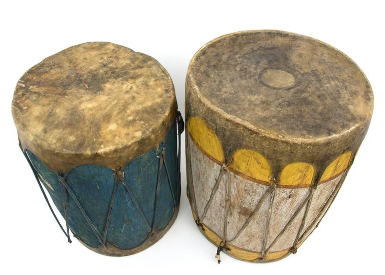 Hand-Painted Pair of Large Antique Southwestern Native American Drums, Pueblo, circa 1900 For Sale