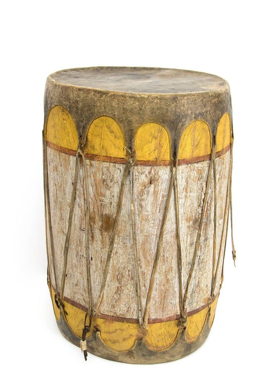 Wood Pair of Large Antique Southwestern Native American Drums, Pueblo, circa 1900 For Sale