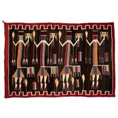 Native American Lukachukai Yei Pictoral Weaving, 20th Century