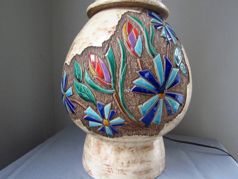 Ceramic Table Lamp Vallauris, France, 1960s by Robert Loiseleur In Good Condition For Sale In Saarbruecken, DE