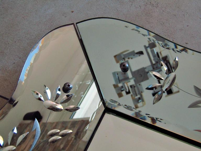 Art Deco Mirror with Ornament Engraving, France, 1940 In Good Condition In Saarbruecken, DE
