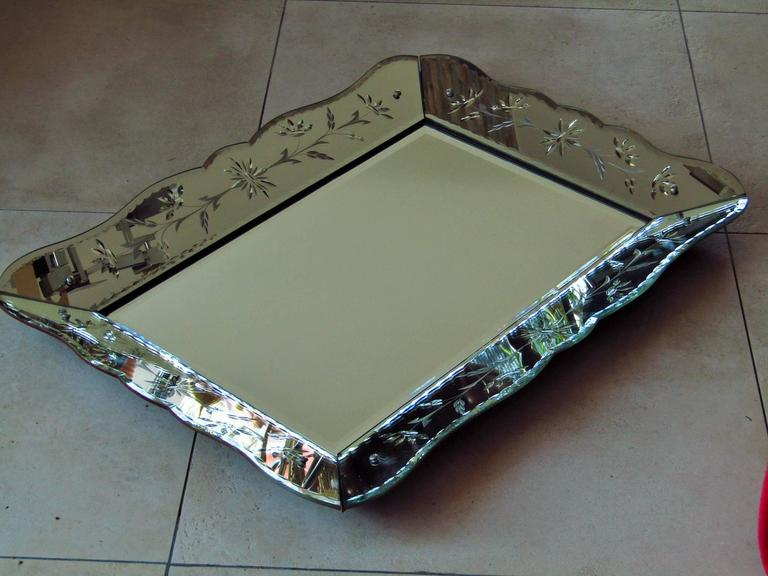 Art Deco Mirror with Ornament Engraving, France, 1940 2