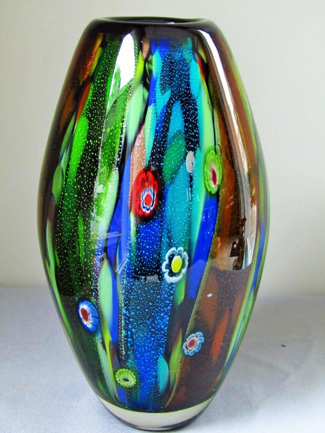 Multi Color Mid Century Murano Vase Italy 1960s For Sale At 1stdibs