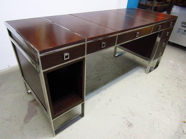 Mid-Century Modern Mid-Century Leather Coated Desk by Guy Lefevre for Maison Jansen, France, 1960s For Sale