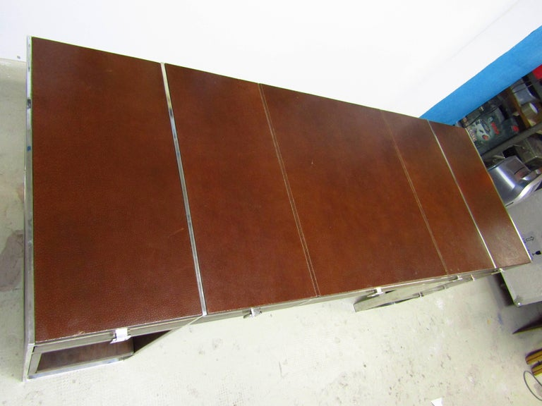 French Mid-Century Leather Coated Desk by Guy Lefevre for Maison Jansen, France, 1960s For Sale