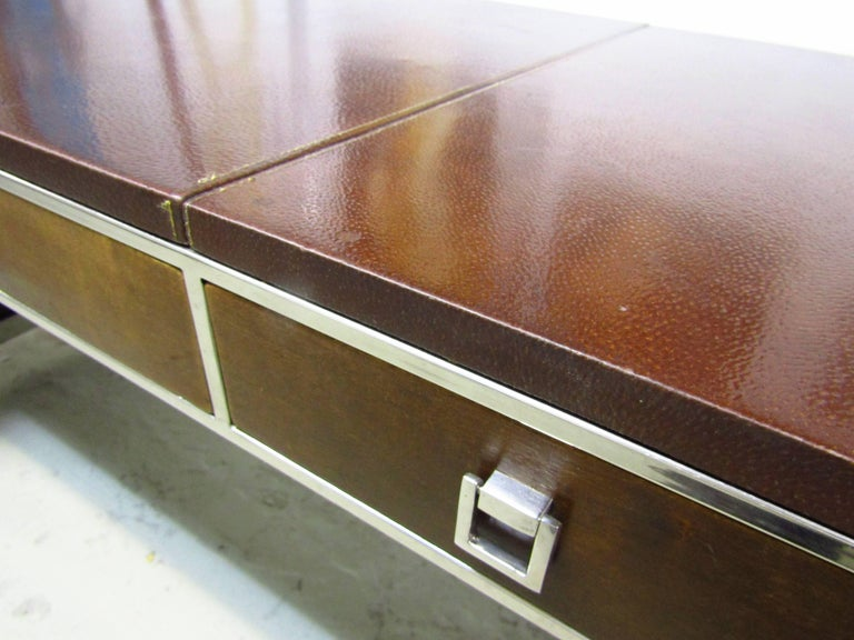 Mid-20th Century Mid-Century Leather Coated Desk by Guy Lefevre for Maison Jansen, France, 1960s For Sale