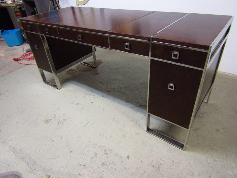 Metal Mid-Century Leather Coated Desk by Guy Lefevre for Maison Jansen, France, 1960s For Sale