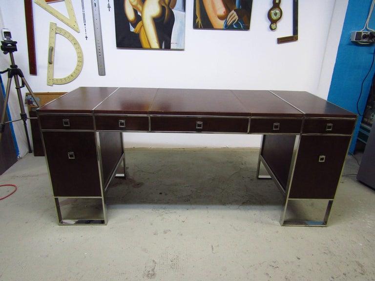 Mid-Century Leather Coated Desk by Guy Lefevre for Maison Jansen, France, 1960s For Sale 1