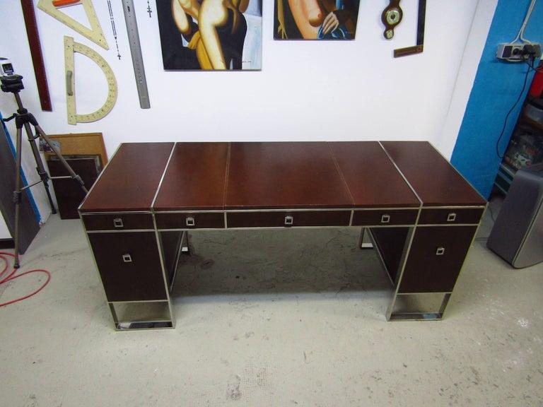 Mid-Century Leather Coated Desk by Guy Lefevre for Maison Jansen, France, 1960s For Sale 2
