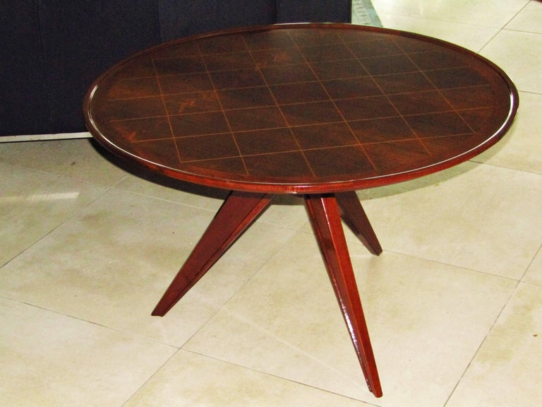 Midcentury Art Deco Rosewood Coffee Table, France, 1940s For Sale 5