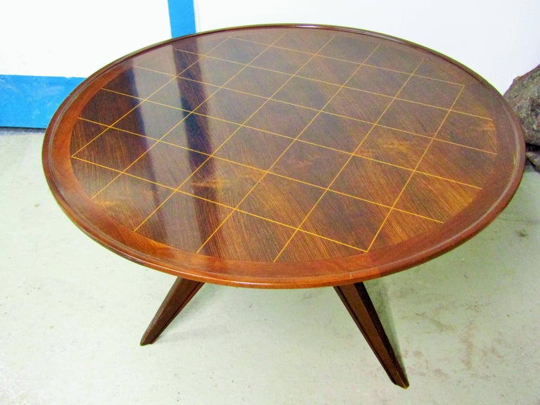 Mid-20th Century Midcentury Art Deco Rosewood Coffee Table, France, 1940s For Sale