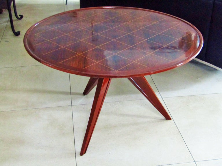 Midcentury Art Deco Rosewood Coffee Table, France, 1940s For Sale 3