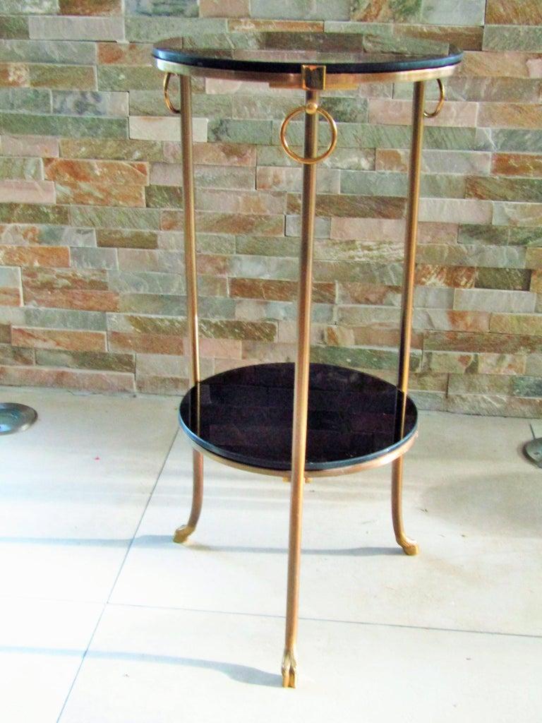 Ebonized Midcentury Maison Charles Brass Side Table For Sale