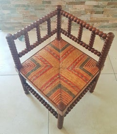 Primitive Minimal Rustic Chair Stool from Spain