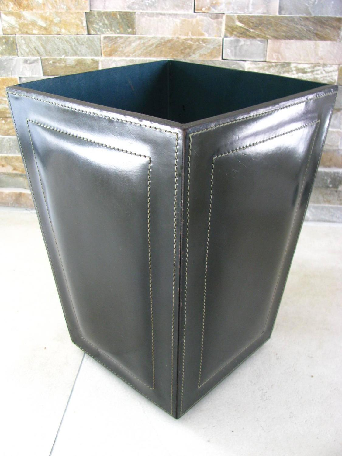 Midcentury Leather Waste Paper Basket Style Adnet For