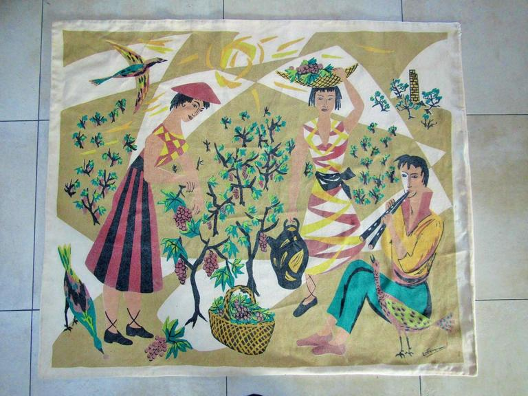 French midcentury tapestry labeled by Manufacturer Corot, France, circa 1965. Cubistic musician with girls scene.