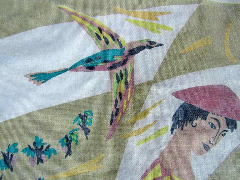 French Midcentury Tapestry by Corot Aubusson, 1960, Cubist In Good Condition For Sale In Saarbruecken, DE