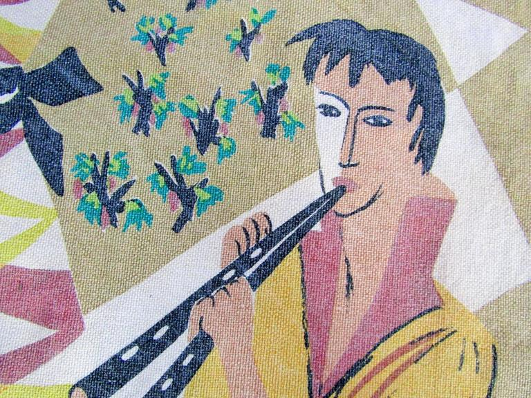 French Midcentury Tapestry by Corot Aubusson, 1960, Cubist For Sale 1