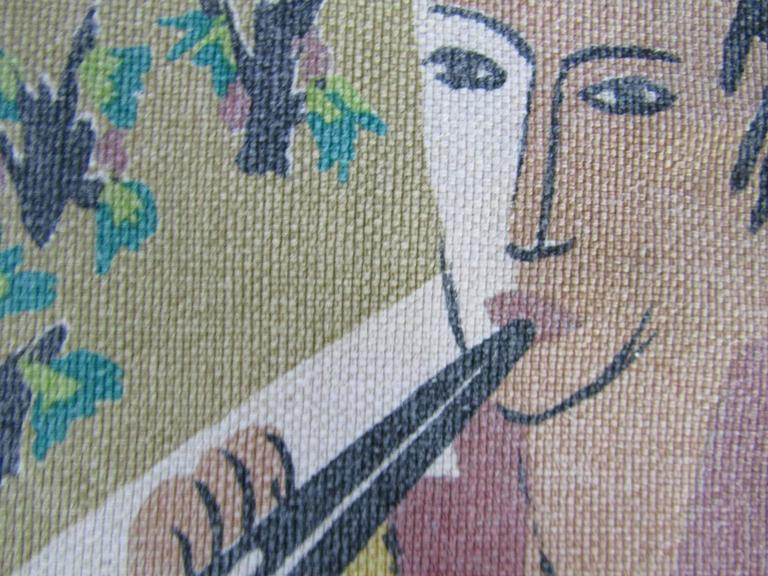 French Midcentury Tapestry by Corot Aubusson, 1960, Cubist For Sale 2