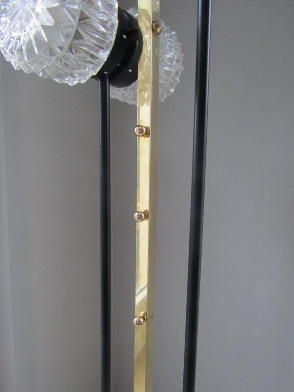 Mid-Century Modern 1960s Floor Lamp with Crystal Cut Shades, France For Sale