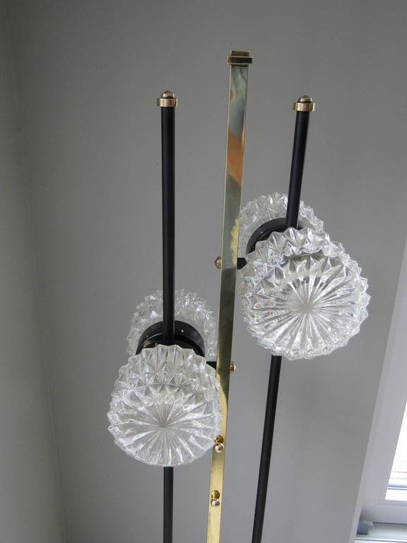 French 1960s Floor Lamp with Crystal Cut Shades, France For Sale