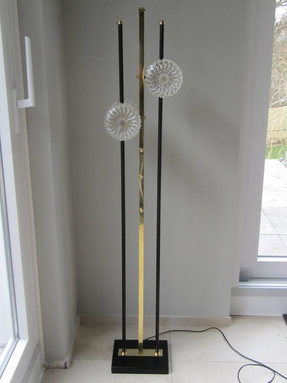 1960s Floor Lamp with Crystal Cut Shades, France For Sale 1