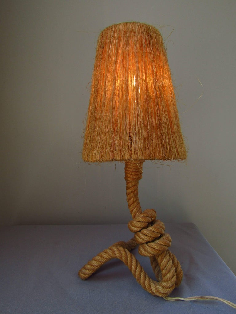 Midcentury Rope Table Desk Lamp Audoux  and Minet, France 1960s. With original shade. 100% original condition!  *** World wide free shipping! ***