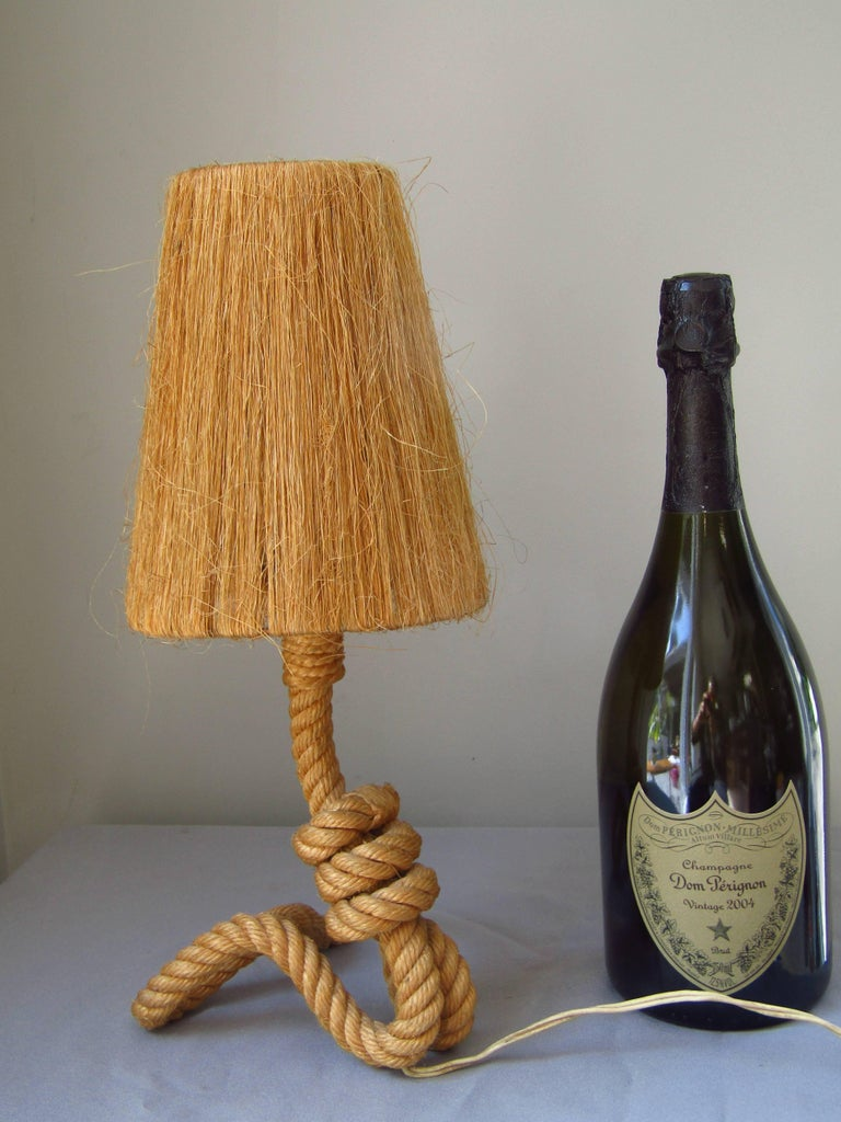 Mid-Century Modern Midcentury Rope Table Desk Lamp Audoux and Minet, France, 1960s For Sale