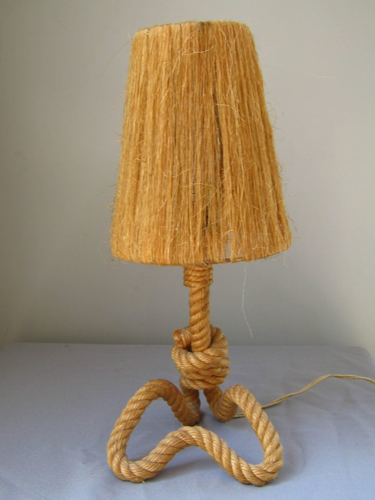 Midcentury Rope Table Desk Lamp Audoux and Minet, France, 1960s For Sale 1