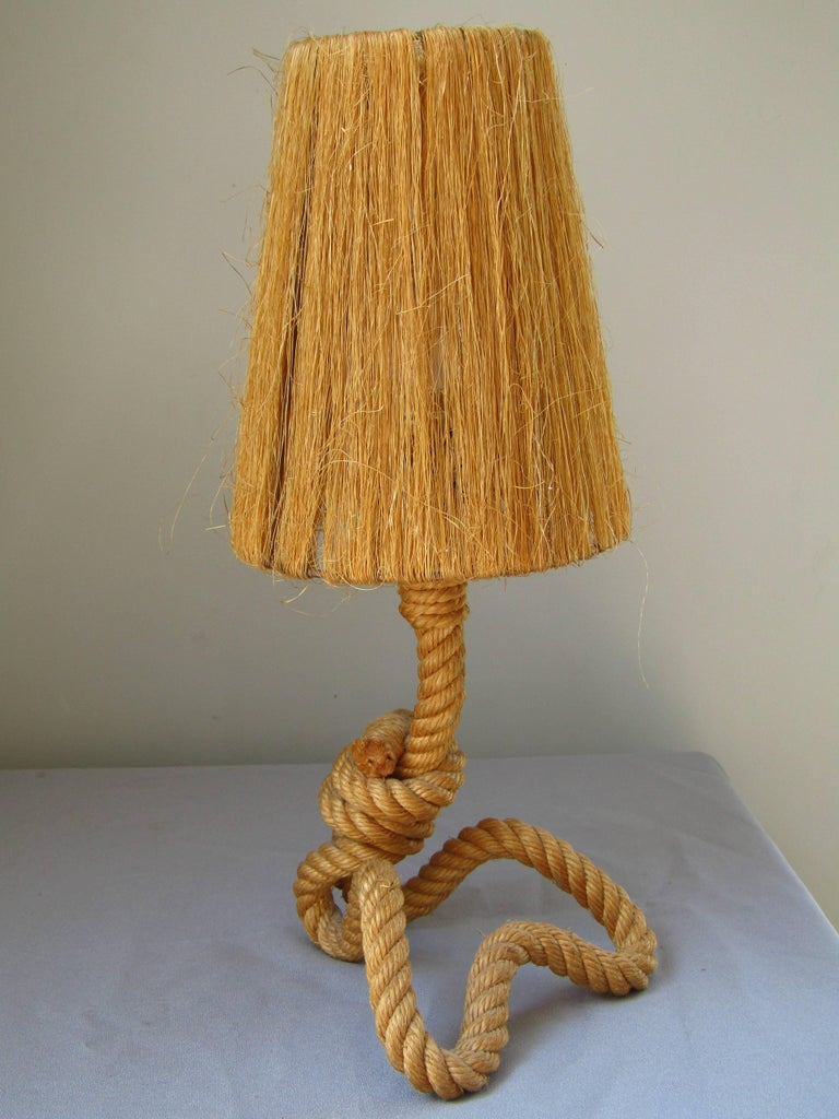 Midcentury Rope Table Desk Lamp Audoux and Minet, France, 1960s For Sale 2